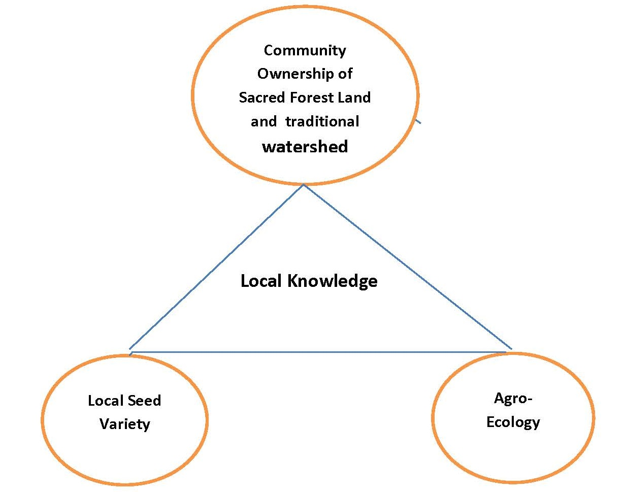 Local Knowledge is a cross cuting Inter-dependent between Community Ownership of Sacred Forest, Local Seed Variety and Agroecology